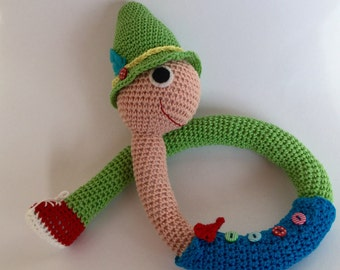 Lowly the Worm amigurumi toy, crochet Lowly the Worm