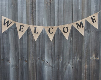 Customisable Burlap / Hessian WELCOME banner.