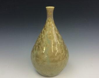 Gold and Olive Green Crystalline Glazed Teardrop Vase