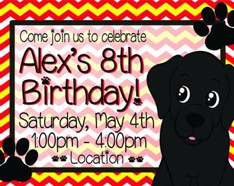 Black Labrador Kids Birthday Invitation