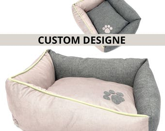 Custom Dog Cat bed with the paw/Choose your color combination/Personalize it with your dog's name