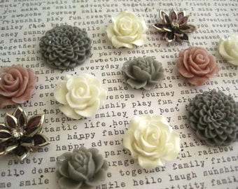 12 Cabochon Flowers, Gray, Mauve, Ivory, Purple Rhinestone, Resin Roses, Dahlias, Perfect for DIY Jewelry Projects, NO HOLES