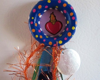 Mexican Magnet, Sacred Heart Magnet, Day of the Dead, Mexican Folk Art, Mexican Kitsch, Catholic Magnet, Mexican Decor, Mexican Wood Magnet