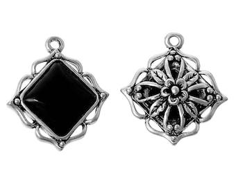 Black diamond silver plated and resin pendant of 2.5 cm / geometric