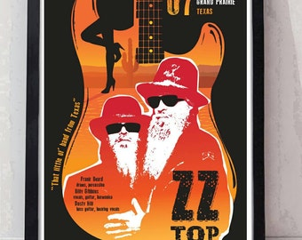 ZZ top inspired music concert poster. Billy Gibbons. Wall decor art quality print. Unframed