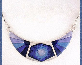 Crescent moon blue  enamelled necklace, flower