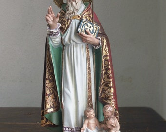 Saint Nicholas with Children 13.7 inch / 35 cm Bishop of Myra Nicolas de Myre Glass Eyes Religious Statue Orthodox Sinterklaas Antique /F273