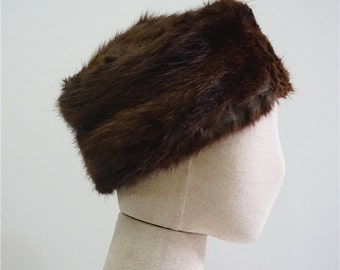Real Mink Fur hat winter in brown.Vintage unique headgear.Luxury  women's hat.Warm hat.Y611918