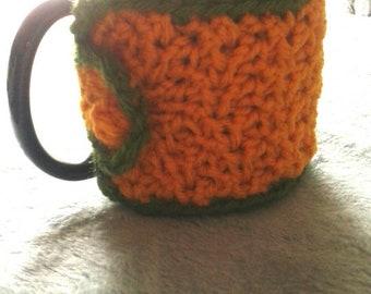 Yellow and green crochet mug cozy, coffee mug cozy, tea mug cozy, handmade mug cozy, crochet gifts, coffee lover gift, tea lover gift