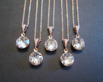 SET of 1,2,3,4,5+ Rose Gold Bridesmaid Necklaces/Rose Gold Crystal Necklace/Swarovski Necklace/Wedding Jewelry/Bridesmaid/Rose Gold Necklace