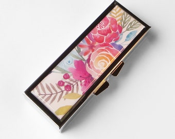 Pill Box, pill case Watercolor Flowers pill container gift for mom, gift for her medicine vitamin organizer suppliment medication holder P49