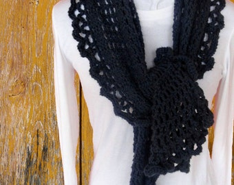 Easy to Crochet Scarf Pattern, Crocheted Wrap Pattern, Trellis Crochet Shawl Pattern, Crochet Patterns with Ruffle Edging