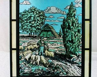 Vintage Stained Glass Window Sheep Herder With His Sheep Vintage Landscape Painted Glass