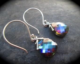 Swarovski Bermuda Blue briolette earrings Sterling Silver Earrings NEW COLOR  Wedding Jewelry Prom Jewelry