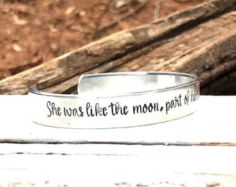 Inspirational cuff, inspirational woman, womans cuff, she was like the moon, part of her was always hidden away, moon cuff, moon and stars