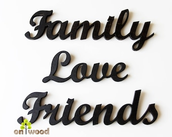 Wooden Family Love Friends signs. Wall decor. Gift. Wall hanging. Wooden letters. Wooden words.