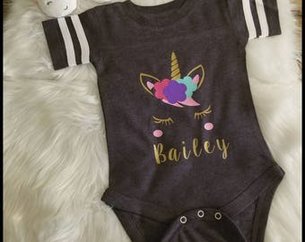 Personalized Unicorn Little Girl Onesie Shirt Perfect Birthday Gift