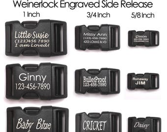 Weinerlock Acetal Plastic Contoured Personalized Laser Engraved Side Release Buckle - Laser Engraved Dog Collar Buckle - Dog Collar Buckles
