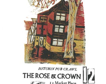 The Rose and Crown Hitchin Pub Crawl Lino and Letterpress Print- Poster