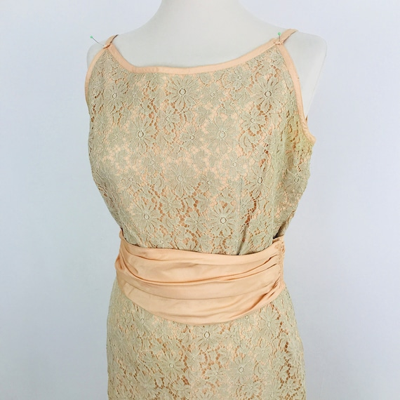 Vintage lace dress peach, beige, sash belt, evening gown, lacy shift, early 1960s UK 10, US 6, 50s, wedding guest, project, damaged