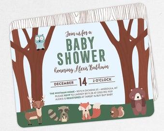 Woodlands Baby Shower Invitation, Neutral Baby Shower, Boy Baby Shower, Printable Invitation, PDF, Animal, Owl, Fox, Deer, Raccoon, Forest