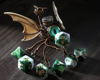 Steampunk Modron, Dnd monster, Flying creature, Octopus Cthulhu Minion Robot with green eye and set of dice