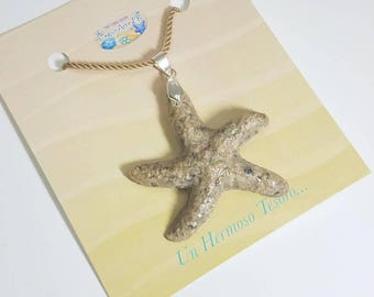 "Puerto Rico Sand. ""Starfish"" necklace in sand."
