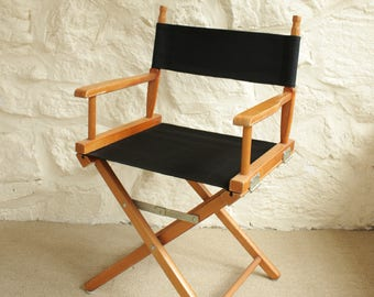 Vintage Black Director's Chair, Mid Century Boho Dining Chair, Modern Outdoor Seating