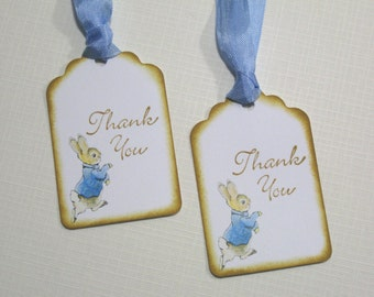10 Baby Shower Tags for Favors - Peter Rabbit Tags - Baby Boy Tags - It's a Boy Tags - Baby Tags - Thank You Tags - Blue Brown Tags