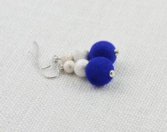 Dark Blue Earrings, Elegant Round Blue Earrings, Silver Modern Earrings Jewellery, Disco Ball Simple Neon Blue Dangle Cute Sapphire Earrings
