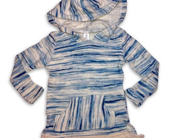 Baja Pullover Hoodie in Space-dye French Terry with Fringe