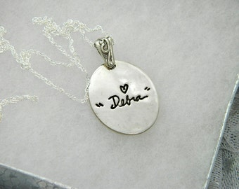 Handwriting Jewelry In Memory Signature Necklace Sterling Silver
