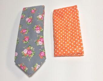 Floral Tie, Men's Necktie, Pocket Square, gray tie, floral Pattern, Wedding Accessory, Cotton necktie, Suit Accessory, Menswear accessory