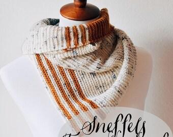 PATTERN: Sneffels Triangle Scarf    Easy Textured Triangular Shawl Beginner Knitting Pattern