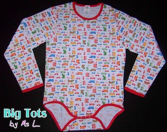 Adult Baby Transportation LONG sleeve  snap crotch Bodysuit ABDL