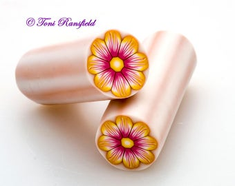 Pink and Yellow Flower Polymer Clay Cane, Raw polymer Clay Cane, Millefiori Polymer Clay
