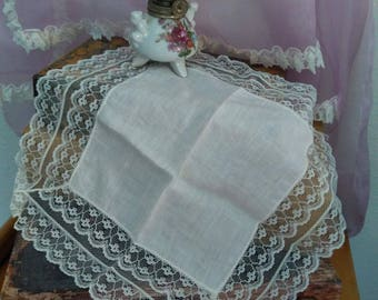 Vintage White Wedding Handkerchief