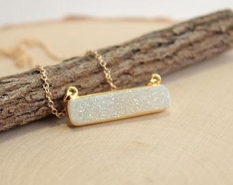 Gold Druzy Horizontal Bar Necklace