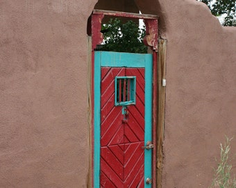 Door Photography, Red & Turquoise Door Northern, New Mexico, Wall Decor, Santa Fe Style, rustic, wood