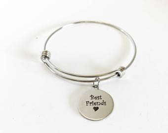 Best Friends Stacking Expanding Bangle Charm Bracelet, Best Friend Valentine Gift, Stacking Bracelet, Stackable Bangle Gift For Her, BFF