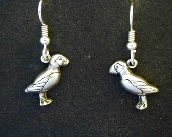 Sterling Silver Puffin Earrings on Sterling Silver French Wires