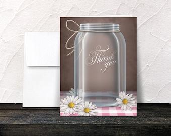Daisy Mason Jar Thank You Cards - Pink Gingham Country Rustic Mason Jar Brown - Printed Thank You Cards