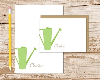 personalized stationery set . watering can notepad + note card set . notecards note pad . sprinkling can . gardening stationary gift set