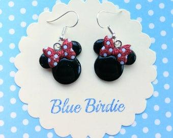 Minnie mouse dangle earrings Disney jewelry Disney earrings Minnie mouse jewelry Minnie Mouse earrings Minnie Mouse jewelry gifts