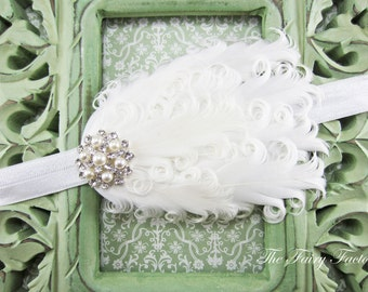 White Feather Headband, White Curled Feather Headband w/ Pearls & Rhinestones, Baptism, Christening, Wedding, Baby Child Girls Headband