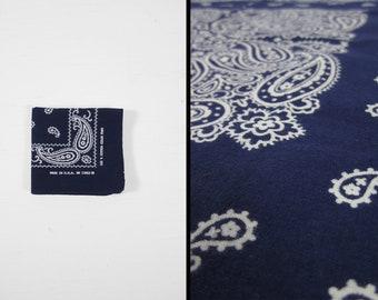 Vintage Indigo Blue Bandana Color Fast Dark Paisley Handkerchief