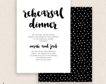 WHITE & BLACK  - DIY Printable - Rehearsal Dinner - Double Sided - Black and White - Polka Dots - Brush Script