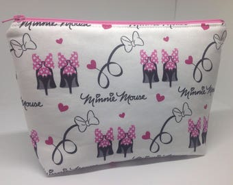 Minnie Mouse Stilettos Zipper Pouch ~ Cosmetics Bag ~ Two Styles ~ Essentials/Accessories Pouch ~ Rare Hard to Find Fabric