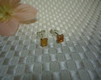 Round Cabochon Fire Opal Earrings in Sterling Silver  #713