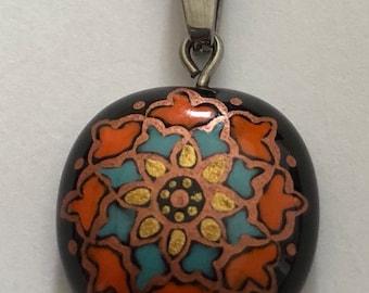 Handmade steel enamelpainted Pendant and Earrings wehns23007